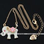 1pc Elephant Enamel Heart Pink Flower Crystal Vintage Golden Necklace Jewelry