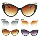 Womens Die Cut Floral Metal Jewel Eye Brow Cat Eye Lash Sunglasses