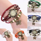Gothic Butterfly Decoration Vintage Leather Bracelet Womens Quartz Wrist Watch