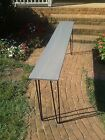 Beautiful weathered grey poplar console table sofa table with black hairpin legs