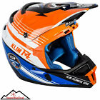 Klim F4 ECE Helmet Circuit Blue Orange Motorcycle Snowmobile Enduro Carbon Fiber