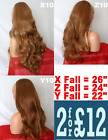 AUBURN GINGER Long Curly Layered Half Wig Hair Piece 3/4 Wig Fall #4/27/30