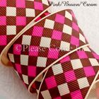 "Grosgrain Ribbon 25mm 1"" Argyle Design Pink/Brown/Cream"