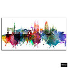 Barcelona Watercolour  City BOX FRAMED CANVAS ART Picture HDR 280gsm