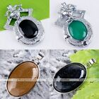 Gold Blue Sand Stone Oval Black Agate Gemstone Bead Pendant Copper For Necklace