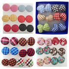 New 6 Pairs Vintage Colorful Cloth Button Plastic Pin Ear Studs Earrings Jewelry