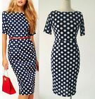 Sexy Women Slim Polka Dot Knee Club Cocktail Evening Bodycon Party Pencil Dress