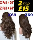 DARK GOLDEN BROWN Long Curly Layered Half Wig Hair Piece Ladies 3/4 Wig Fall