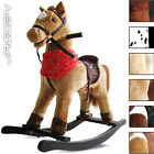 Rocking Horse w/ Sound Effect Pony Saddle Classic Child Boy Girl Toy Ride On Fun