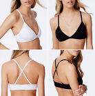 Womens Soft Cotton Triangle Bralet Ladies Girls Cross Back Strappy Crop Top 4-14
