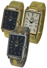 AN London Rectangular Shaped Dial Metal Stretchband Expandable Band Unisex Watch