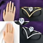 Fashion Jewelry Two Finger Ring AAA Zircon Womens Punk Partys Accessory R924R925