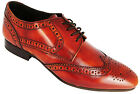 Ikon Ritchie Men's Antique Hi Shine Tan Lace Up Leather Wingtip Brogues New