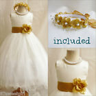 Beautiful ivory/gold bridesmaid flower girl party dress FREE HEADPIECE all sizes