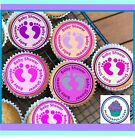 24 BABY SHOWER GIRL CUPCAKE TOPPERS, PREMIUM RICE PAPER OR ICING SHEET BSG01