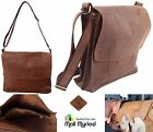 Custom Handmade Vintage Retro Look Genuine Leather Laptop Crossbody Bag Brown
