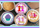 24 PERSONALISED 11th BIRTHDAY DESIGN 3 CUPCAKE TOPPER RICE, WAFER or ICING