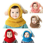 Baby Girls Boys Winter Warm Knitted Hat Hooded Scarf Earflap Cap