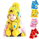 Toddler Girls Boys Warm Star Patterned Crochet Pom Pom Beanie Hat Cap   Scarf