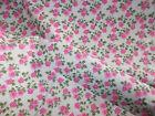 Pink Roses on Mint background / 100% cotton Fabric material quilting patchwork