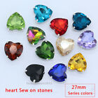 12pc crystal 27mm heart shape Sew On faceted glass rhinestones/stones/beads Y-pk