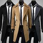 Hot Men's Slim Fashion Trench Coat Winter Long Jacket Double Breasted Overcoat