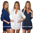 Womens Custom Fit Long Sleeve Chiffon Casual Shirt Tops V Neck Dress Blouse