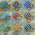 Big Hole Crystal Rhinestones Silver Rondelle Spacer Beads Fit European Charm