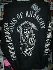 SONS OF ANARCHY REAPER FRONT REDWOOD ORIGINAL BLACK LONG SLEEVE T-SHIRT NEW !