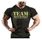 BLACK  VINTAGE ARMY STYLE FITTED BODYBUILDING T SHIRT GYM CLOTHING TOP J-121