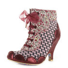 WOMENS IRREGULAR CHOICE DOLLY MIXTURE GREY PINK LACE UP ANKLE BOOTS SHOE SIZE