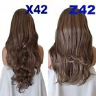 DARK BROWN/ GOLDEN BLONDE MIX Long Curly Layered Half Wig Hair Piece #4/26
