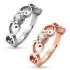 Stainless Steel Multi-Heart Design 0.20 Carat CZ Ring Size 5-8