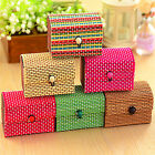 Newly 1x Ring/Necklace/Earrings Flower Bamboo Wooden Jewelry Storage Box Case
