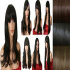 DARK Brown Lady Wig Natural Long Curly Straight Wavy Women Full Ladies Wigs UK