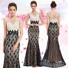 Women's V-neck Lacey Fishtail Long Prom Evening Formal Dress 08535