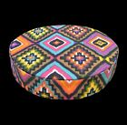 AL251r Brown Olive Yellow Geometric Cotton Canvas 3D Round Seat Cushion Cover