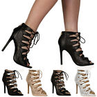 Womens Open Toe Ladies Slim Stiletto High Heeled Criss Cross Lace Shoes Size 3-8