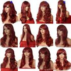 BURGUNDY Wig Long Curly Straight Wavy Women Party Fancy Dress Full Ladies Wig