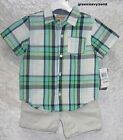 Kids Headquarters baby boys plaid shirt chambray shorts set 2 piece size 24 NEW