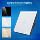 1 Way 1 Gang Luxury Crystal Glass Panel LED Touch Light Switch + Remote Control