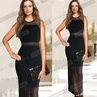 Sexy Summer New Mesh Insert Women Sleeveless Long Maxi Evening Party Dress B209