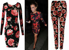Womens Long Sleeve Bodycon Rose Dress Ladies Floral Skinny Trouser Plus Size8-22