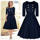 Women's Vintage 3/4 Sleeves Cocktail Evening Party Business Weddings Swing Dress
