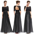 Women's Half Sleeve Black Lace Maxi Backless Party Evening Dress 09991