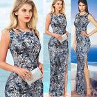 Women Animal Print Side Split Sexy Evening Party  Long Maxi Summer Dress B218