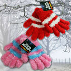 GIRLS MAGIC GLOVES CHENILLE WINTER WARM THERMAL SOFT KNITTED LADIES LUXURY FURRY