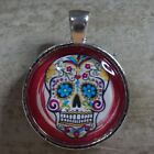 ROUND GLASS TILE PENDANT/SUGAR SKULL/MEXICAN DAY OF THE DEAD/PHOTO PENDANT/RED