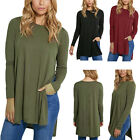 Sexy Women's Casual Long Sleeve Side Slits knitting Shirt Tops Loose Blouse