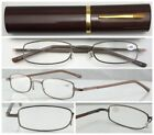 L292 Metal Frame Slim Reading Glasses/Spring Hinges+Aluminum Alloy Pen Tube Case